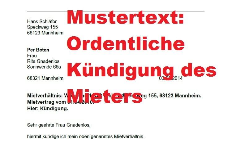 Mustertext: Ordentliche Kündigung Durch Mieter Gemäß § 542 BGB