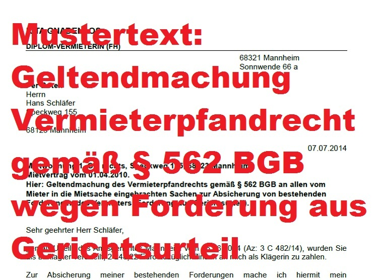 mustertext vermieterpfandrecht vor berliner r umung 562 bgb. Black Bedroom Furniture Sets. Home Design Ideas