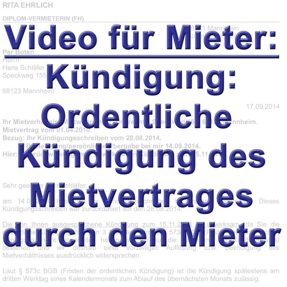 Video Ordentliche Kündigung Des Mieters Gemäß 542 Bgb
