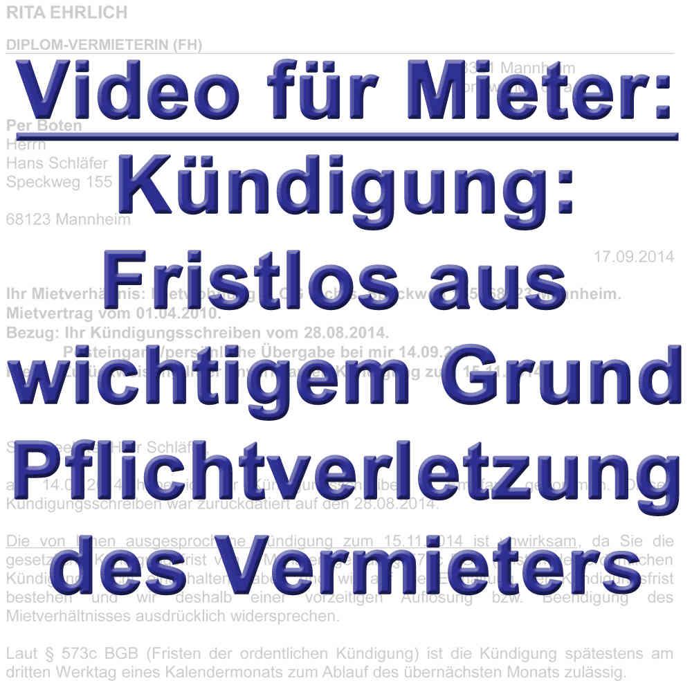 Video Als Mieter Fristlos Kündigen Aus Wichtigem Grund 543 Bgb