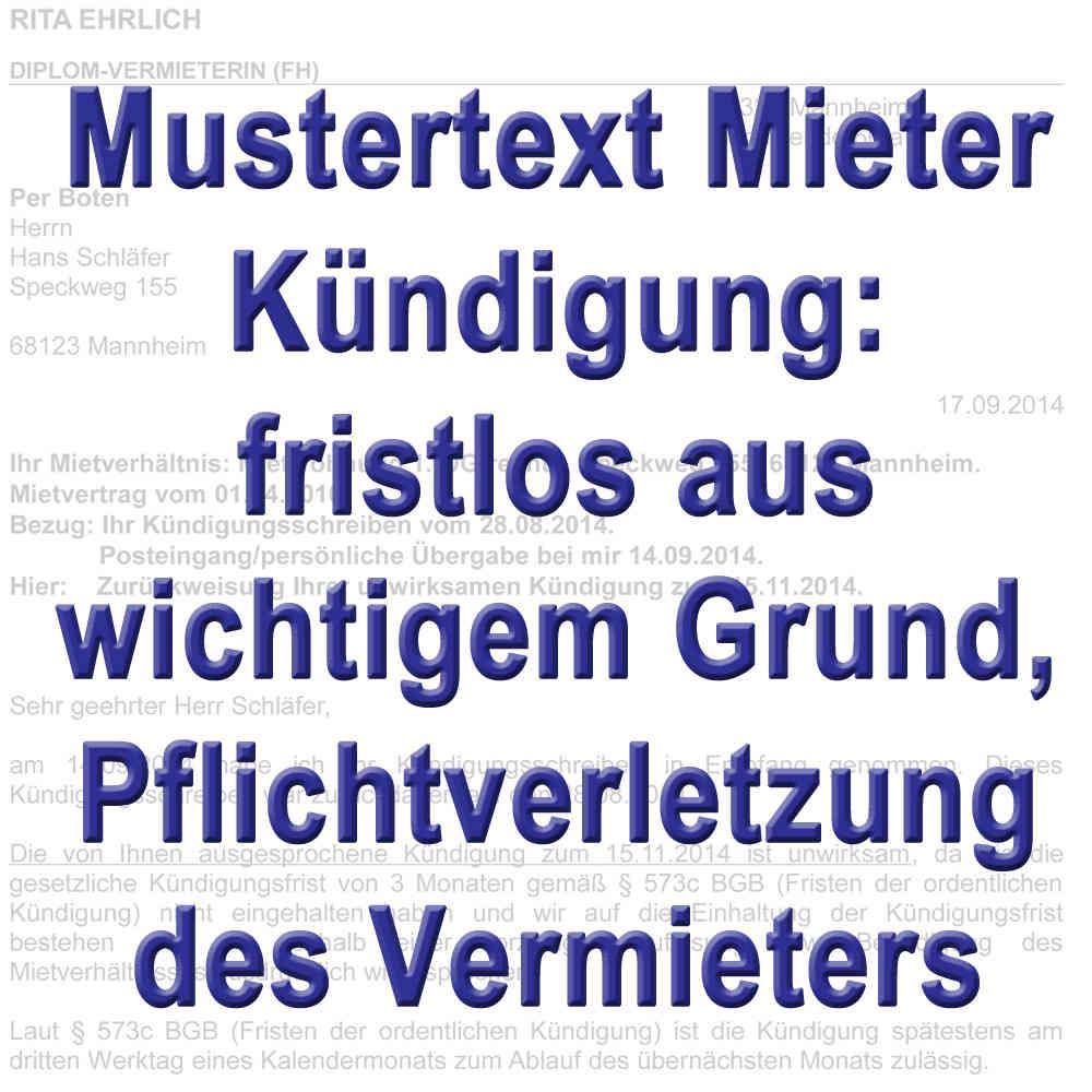 Mustertext: Fristlose Kündigung durch den Mieter gemäß § 543 BGB