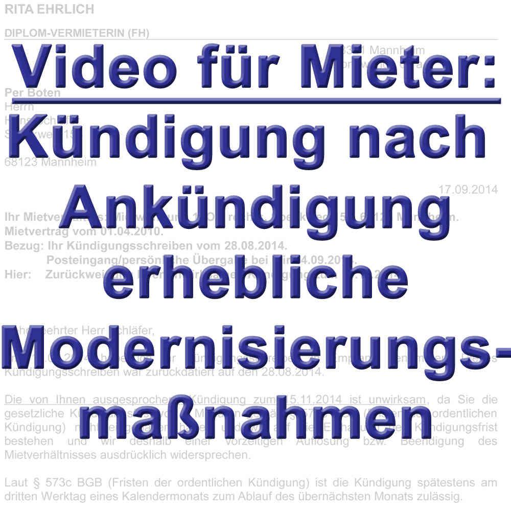 Video Kündigung Mieter Nach Ankündigung Modernisierung 554 Bgb