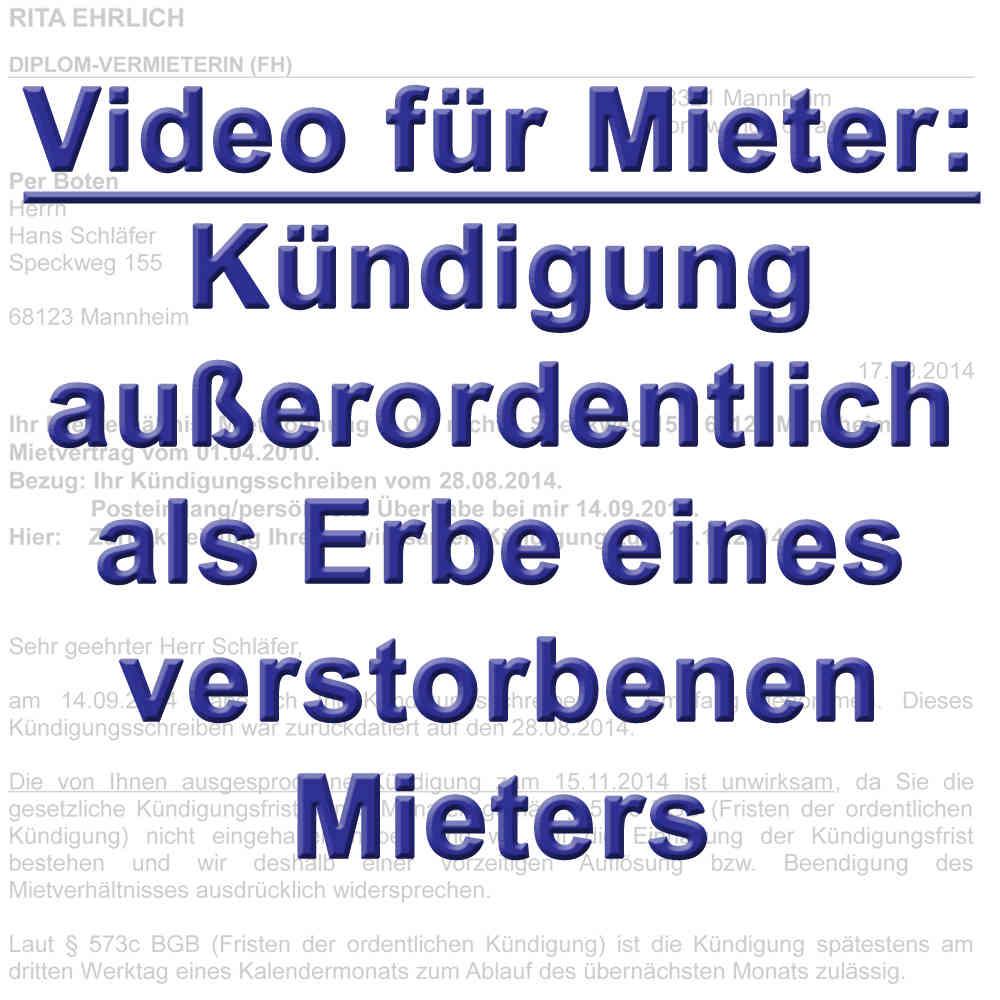 Video Kündigung Mietvertrag Durch Erben Gemäß 564 Bgb