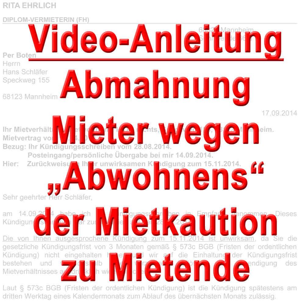Video Abmahnung Mieter Wegen Abwohnen Der Kaution Zu Mietende