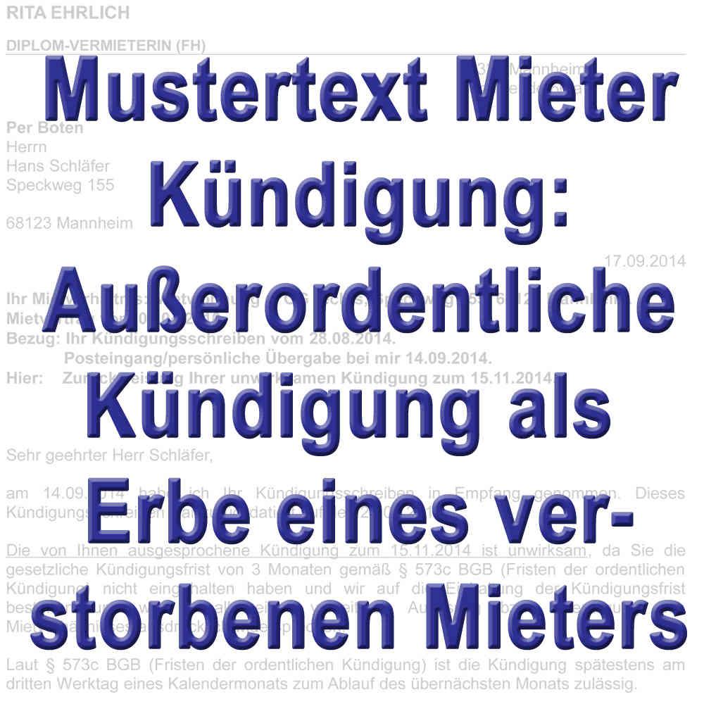 Mustertext Kündigung Durch Erben Außerordentlich Gemäß 564 Bgb