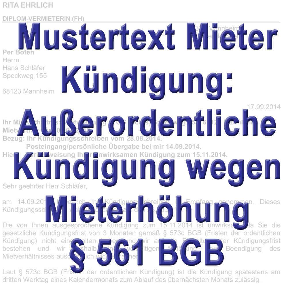 Mustertext Kündigung Durch Mieter Wegen Mieterhöhung 561 Bgb