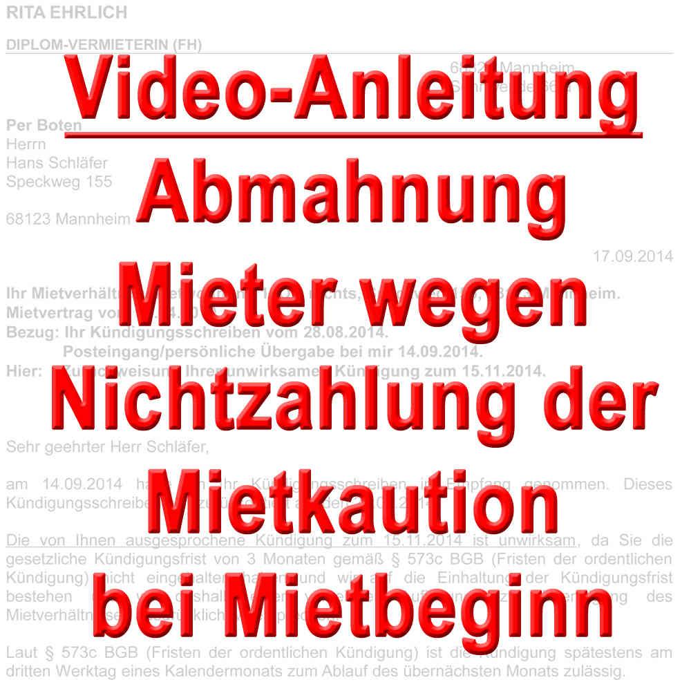 Video Mieter Abmahnen Wegen Nichtzahlung Kaution Bei Mietbeginn