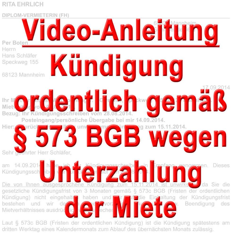 Video Kündigung Ordentlich Durch Vermieter Wegen Mietrückstand