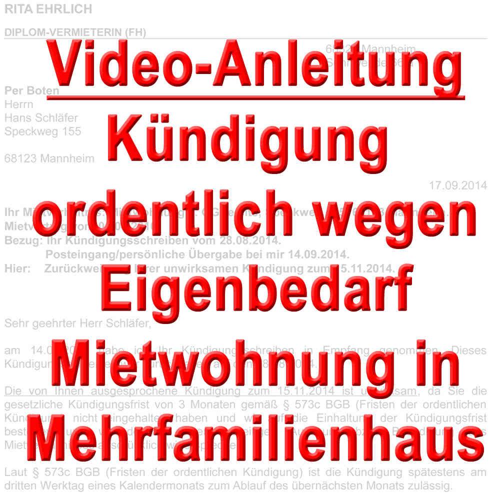 Video Kündigung Ordentlich Wegen Eigenbedarf Mietwohnung Mfh