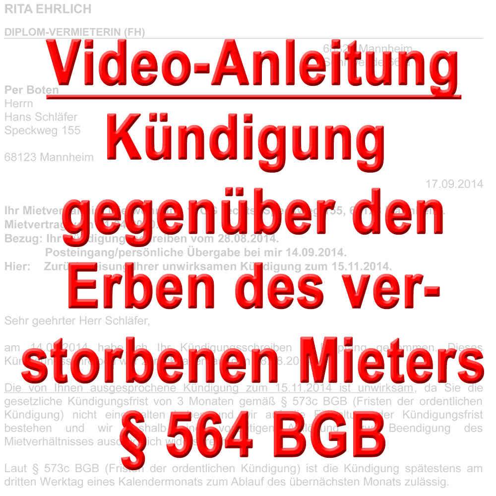Video Kündigung Vermieter Gegenüber Erben Gemäß 564 Bgb