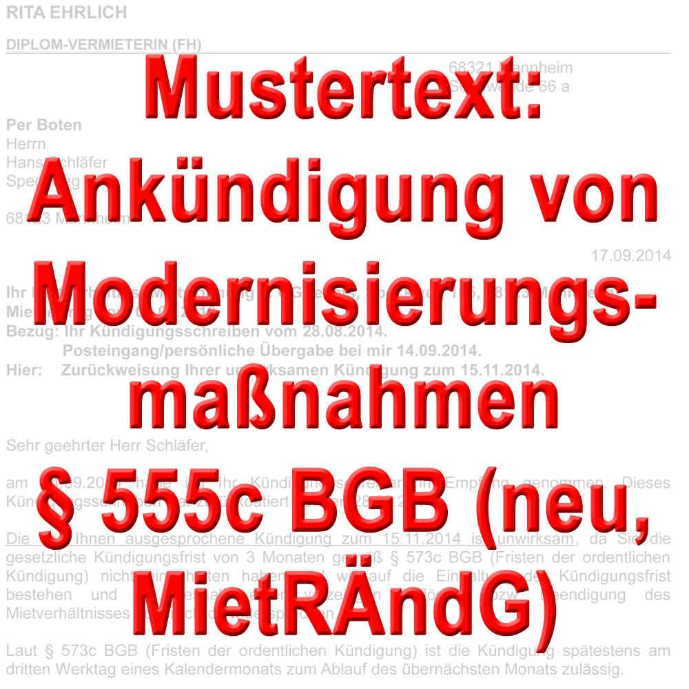 Mustertext Ankündigung Modernisierung Gemäß 555c Bgb
