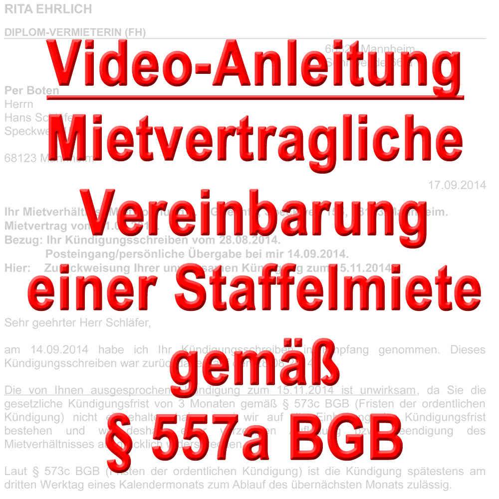 Video Vertragliche Vereinbarung Einer Staffelmiete 557a Bgb