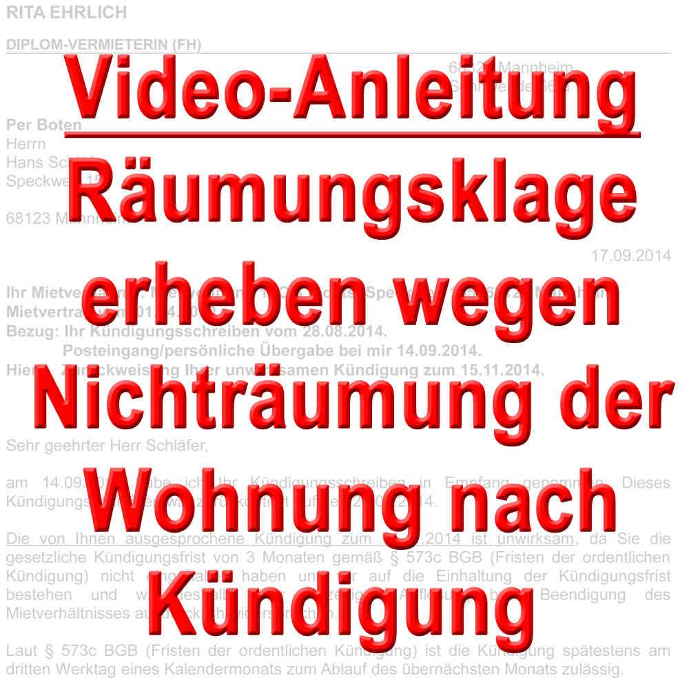 Video Räumungsklage Mit Zahlungsklage Erheben Nach Kündigung