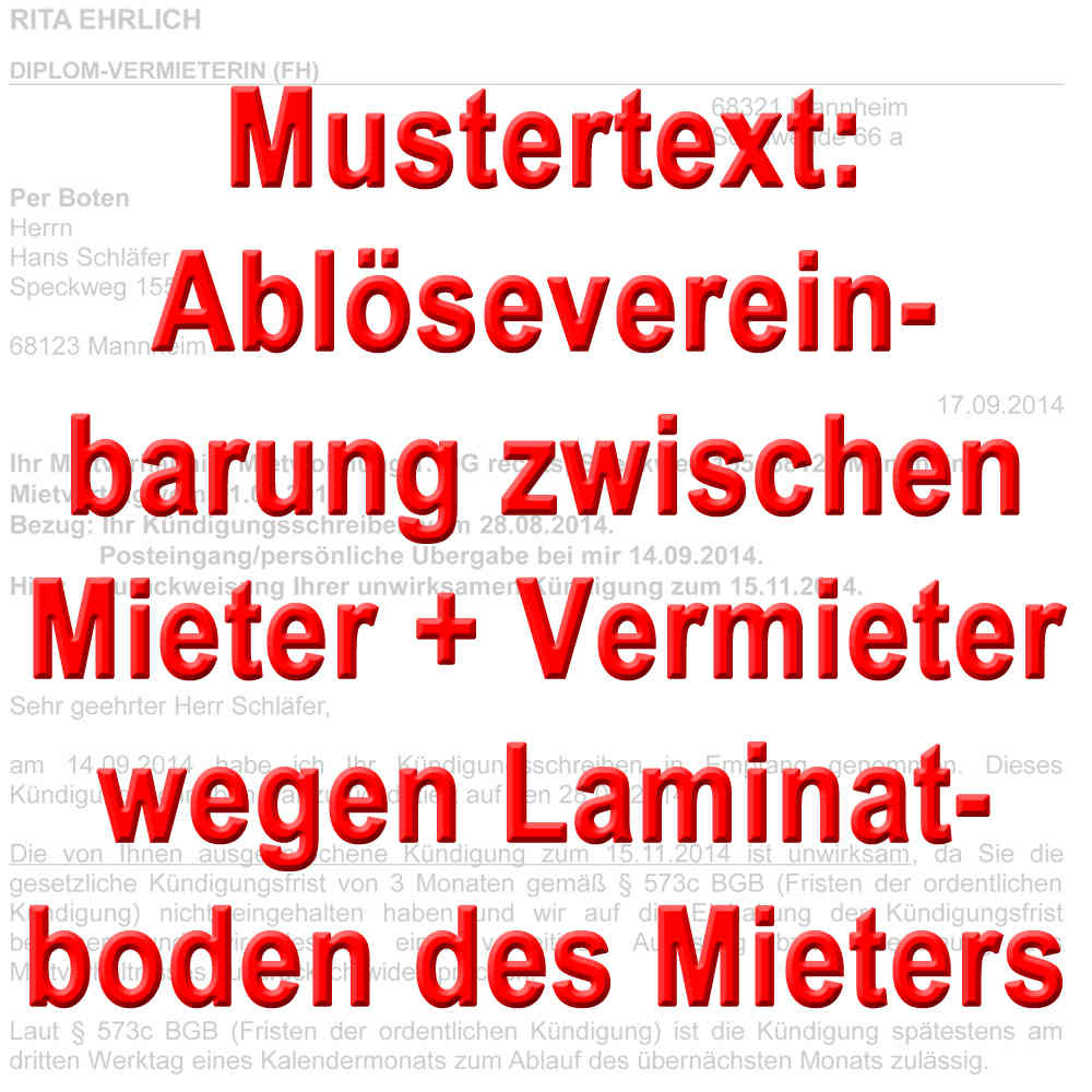 Mustertext Ablösevereinbarung Laminatboden Mieter Bei Mietende