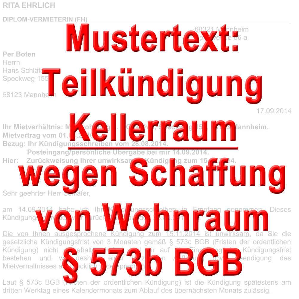 Mustertext Teilkündigung Mieter Keller Gemäß 573b Bgb