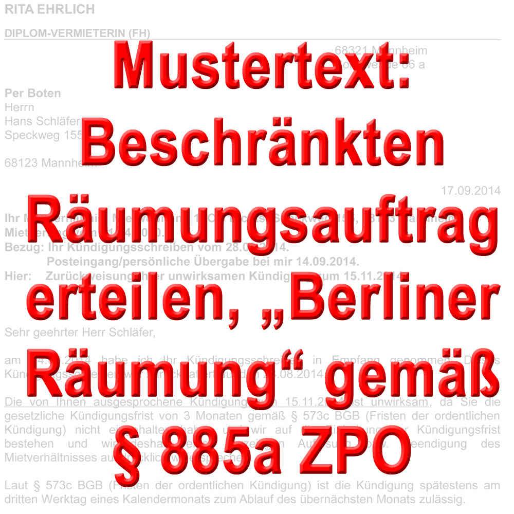 Mustertext Raumungsauftrag Berliner Modell 885a Zpo Mietrecht