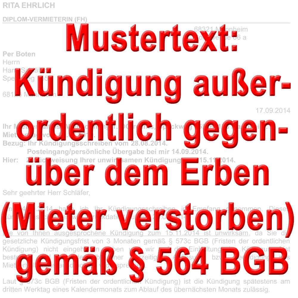 Mustertext Kündigung Vermieter Gegenüber Erben Gemäß 564 Bgb