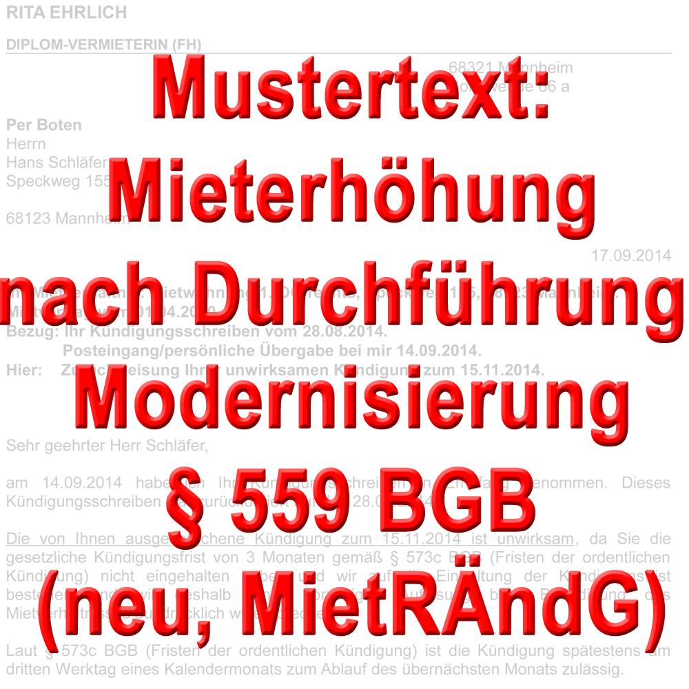 mustertext mieterh hung bei modernisierung 559 bgb. Black Bedroom Furniture Sets. Home Design Ideas