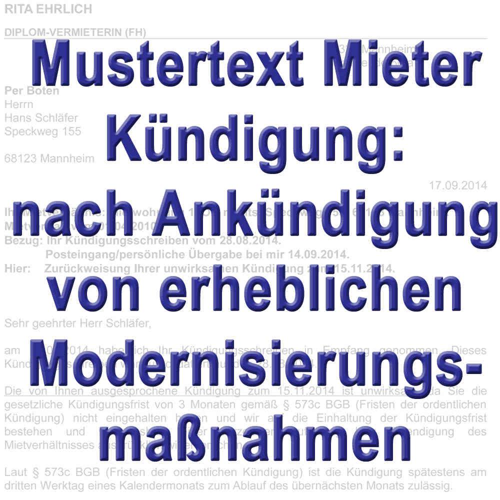 Mustertext Mieter Kündigt Wegen Modernisierung 555e Bgb Neu