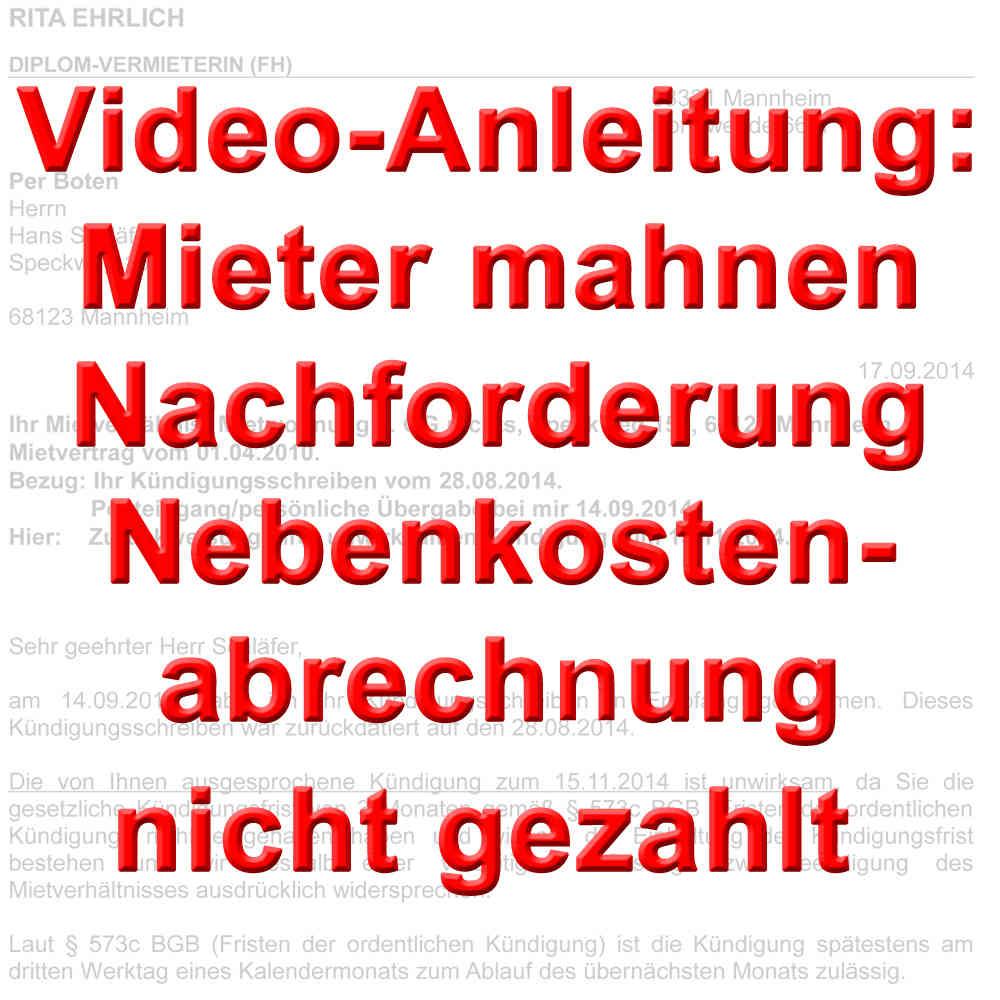 Video Mahnung Nachforderung Nebenkostenabrechnung Offen Verzug