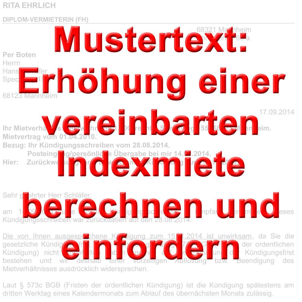 Mustertext Indexmiete Erhöhung Berechnen Und Einfordern